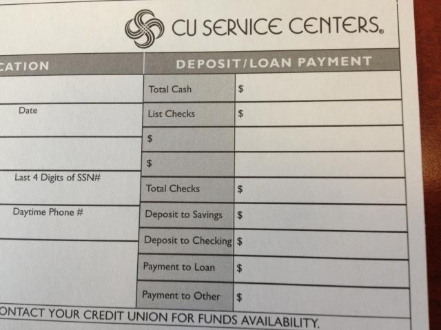 Bank deposit slip