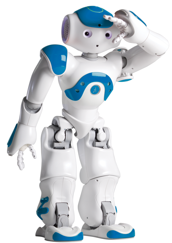 Blue and white NAO robot
